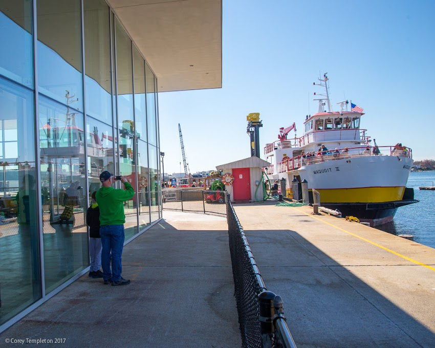 Portland, Maine USA April 2017 photo by Corey Templeton. Watching the Maquoit II ferry boat depart for one of the islands of Casco Bay this morning.