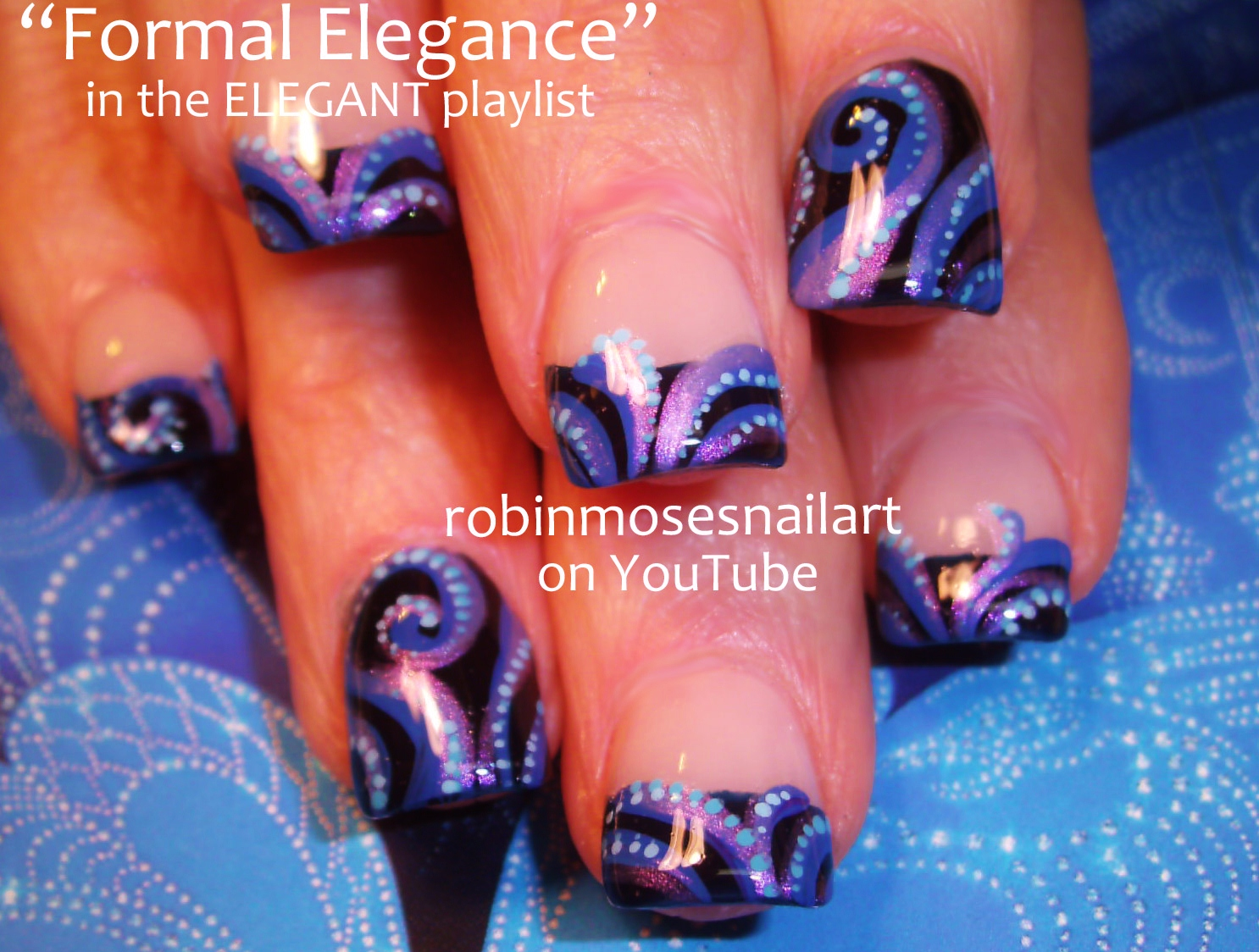 Nail Art By Robin Moses Elegant Blue Nails Blue Swirled Nails Red