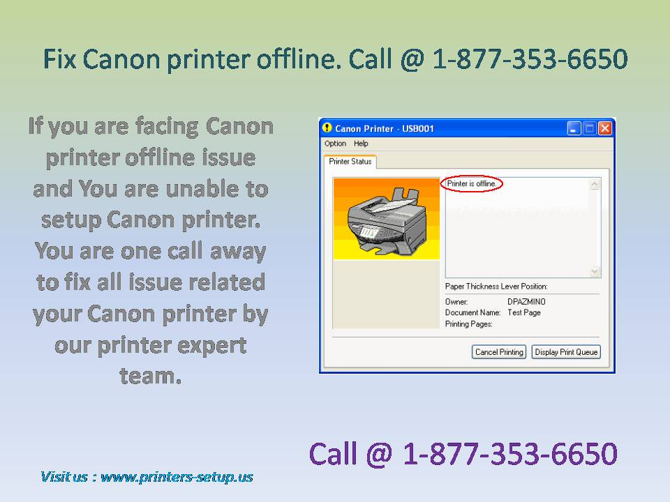 the printer is offline canon