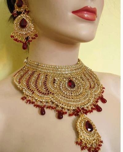 New Fashion Arrivals Pakistani Bridal Gold Jewelry Design 2014