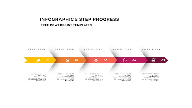 Infographic 5 Step Progress Arrow Diagrams for PowerPoint Template Slide 5
