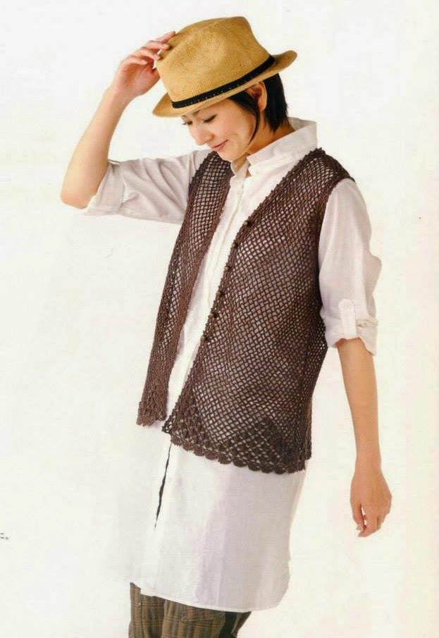 Chaleco en Malla a Crochet