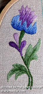 Crewel Sampler (by Elsa Williams): Completed large left motif