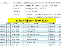 Jadwal dan Nama Peserta UJIAN CAT CPNS 2018 - Kota Solok, Download Disini !!!