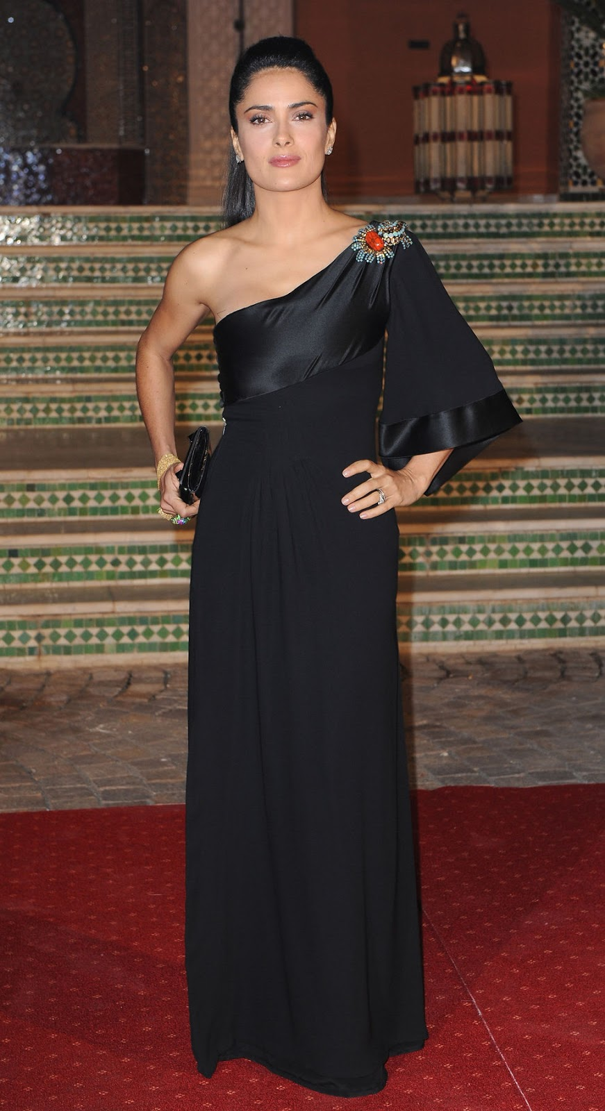 Mexican Actress Salma Hayek In Black Dress