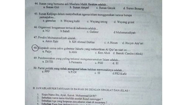 Waduh, Nama Ahok dan Paijo Disandingkan Dalam Opsi Jawaban Ujian Akhir Semester SMP