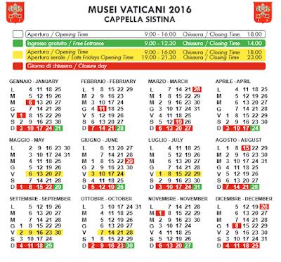 Calendario Musei Vaticani