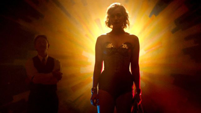 """Charles Guyette in the film, """"Professor Marston and the Wonder Women,"""" with Olive Byrne as Wonder Woman"""