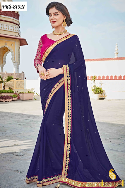 royal navy blue color reception sarees online shopping with discount sale