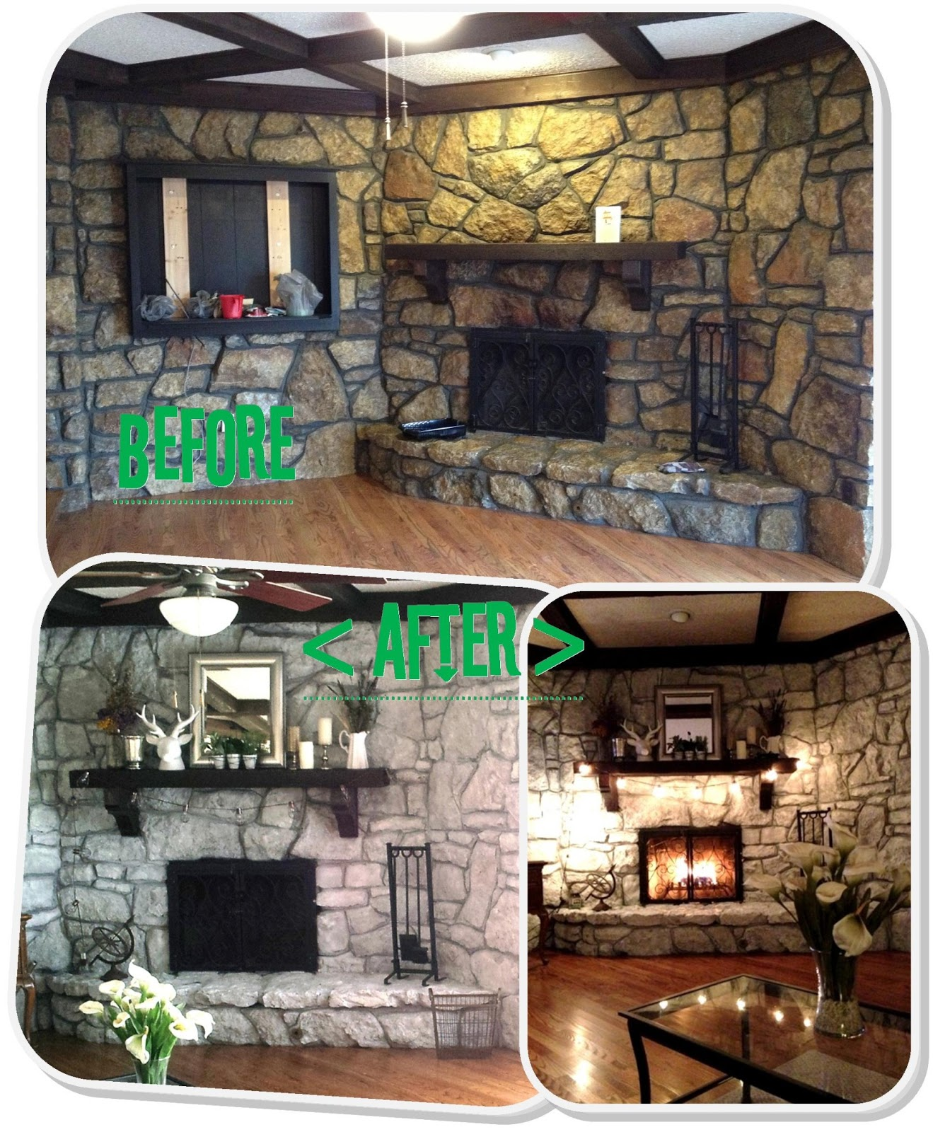 Preferred Mrs Frog Prince 1970 S Stone Fireplace Makeover Up14