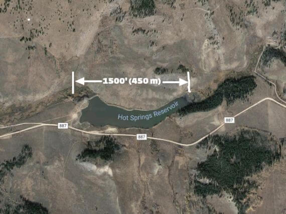 Satellite photo of small Colorado reservoir
