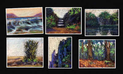Thumbnail sketches of landscapes created on Canson paper, By Manju Panchal
