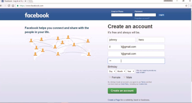 Facebook Sign Up New Person