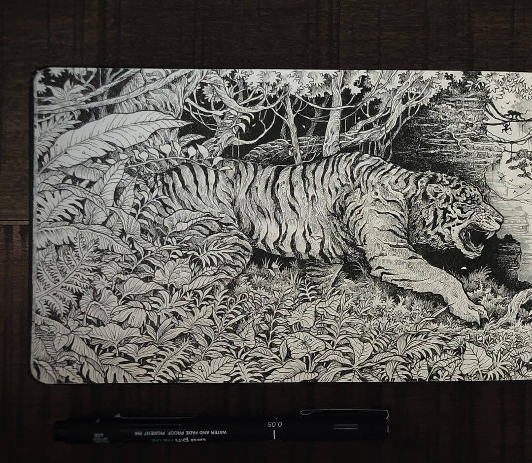 04-Shere-Khan-The-Jungle-Book-Kerby-Rosanes-Free-Hand-Detailing-and-Doodling-www-designstack-co