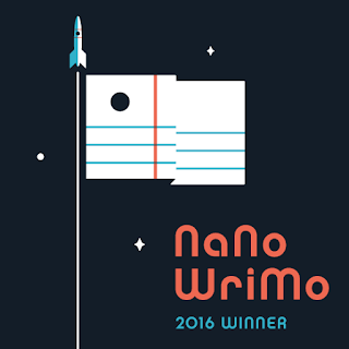 [Image description] Square image with nearly black background with stars.  A  white and blue rocket ship at the top of what could be interpreted as both a flag pole and a contrail.  Along side that pole is a flag designed to look like lined paper.  Words in bottom corner read NaNoWriMo 2016 Winner.  Words are written in peachy orange and bright blue.