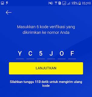 Memasukkan kode verifikasi XL