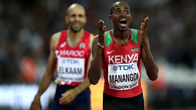 Elijah Manangoi baada ya kushinda dhahabu ya mita 1500 kwenye ubingwa wa riadha duniani jijini London mnamo Agotsi, 13. Picha/Getty Images