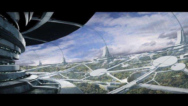Una ciudad en 3D del videojuego de exploración espacial Mass Effect Andromeda