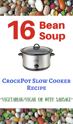 Use a bag of mixed beans from the grocery store to make a delicious, hearty soup that feeds up to ten people for only about $3 for the entire pot! 16 bean soup or Calico bean soup --- can be vegetarian or vegan unless you want to add ham! :-)