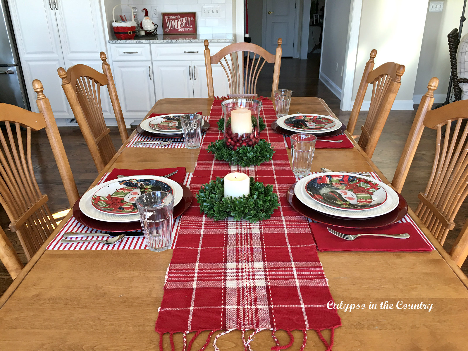 Christmas Table Set in Red