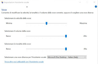 La finestra Impostazioni assistente vocale in Windows 10