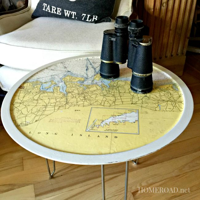 Map Table with Repurposed Hairpin Legs