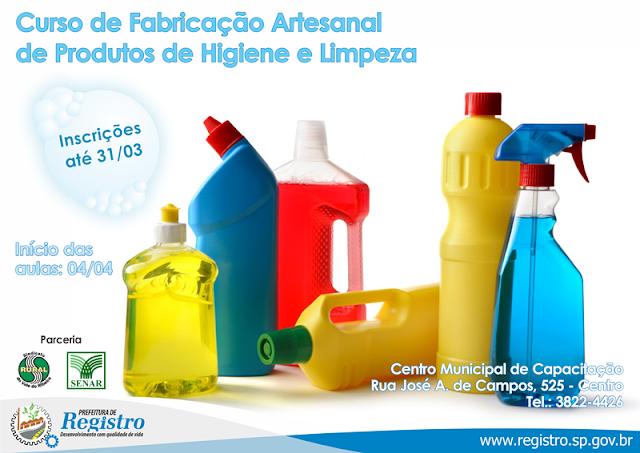 Inscrições para curso de Fabricação Artesanal de Produtos de Higiene e Limpeza seguem até sexta-feira (31/03)