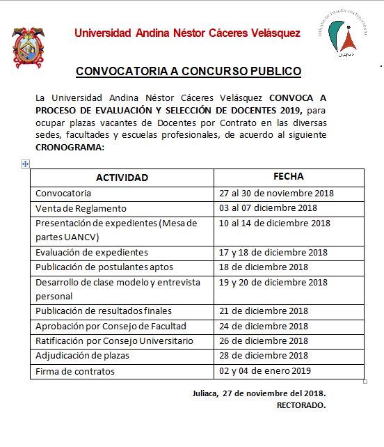 Universidad Andina Nestor Caceres Velasquez Admision