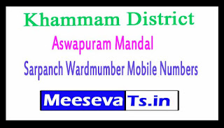 Aswapuram Mandal Sarpanch Wardmumber Mobile Numbers List Part I Khammam District in Telangana State