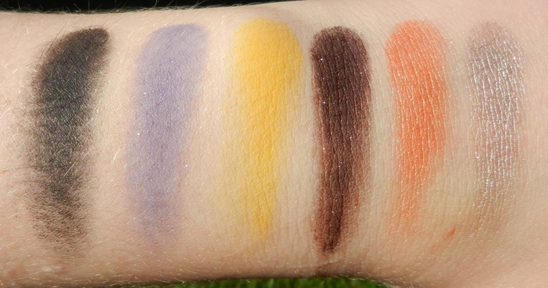ABH Artist Palette Swatches Coal, Unicorn, Phresh, Baby I'm a star, Orange you fancy, Beigely
