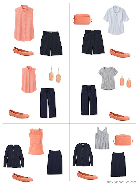 six ways to wear coral with navy and grey, in the spring and summer
