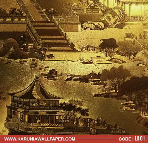 wallpaper dinding emas ala khas cina
