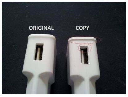 Membedakan charger Samsung asli dan palsu