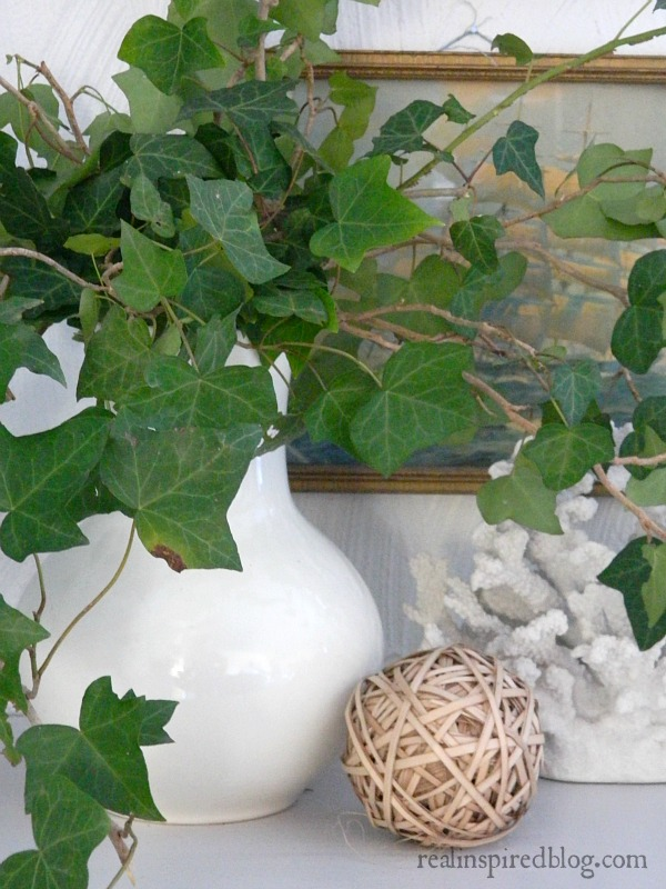 White vase filled with ivy for natural decor from your yard.