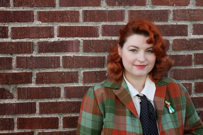 plus size vintage style pendleton 49er jacket 1940s skirt and pin curls