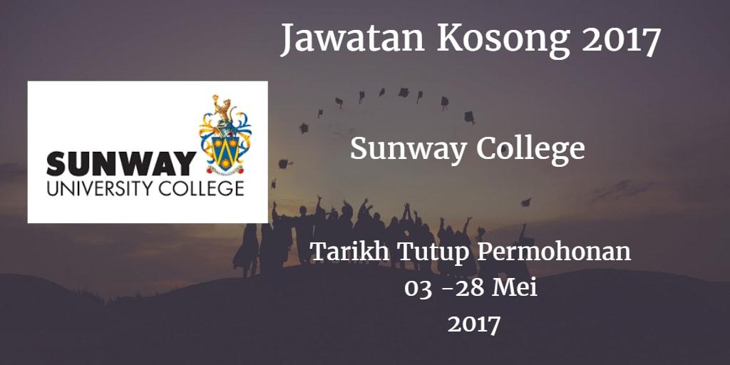 Jawatan Kosong Sunway College 03 - 28 Mei 2017
