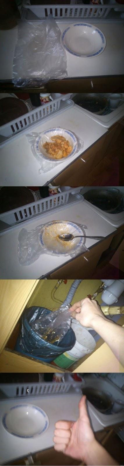 Erfindungsreiche Männer und der Haushalt - lustiger Abwasch
