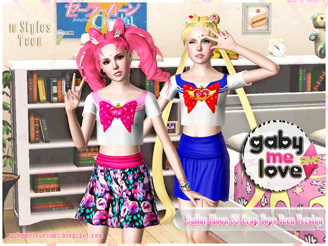Sailor Moon SS Crop Tops Teen Version, Sims 3 - Gabymelove Sims