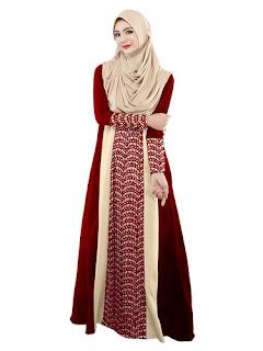 Long Dress Batik Kombinasi Modern