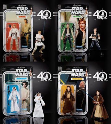 "Star Wars 40th Anniversary Black Series 6"" Action Figures Wave 1 - Luke Skywalker, Han Solo, Princess Leia & Obi-Wan Kenobi"