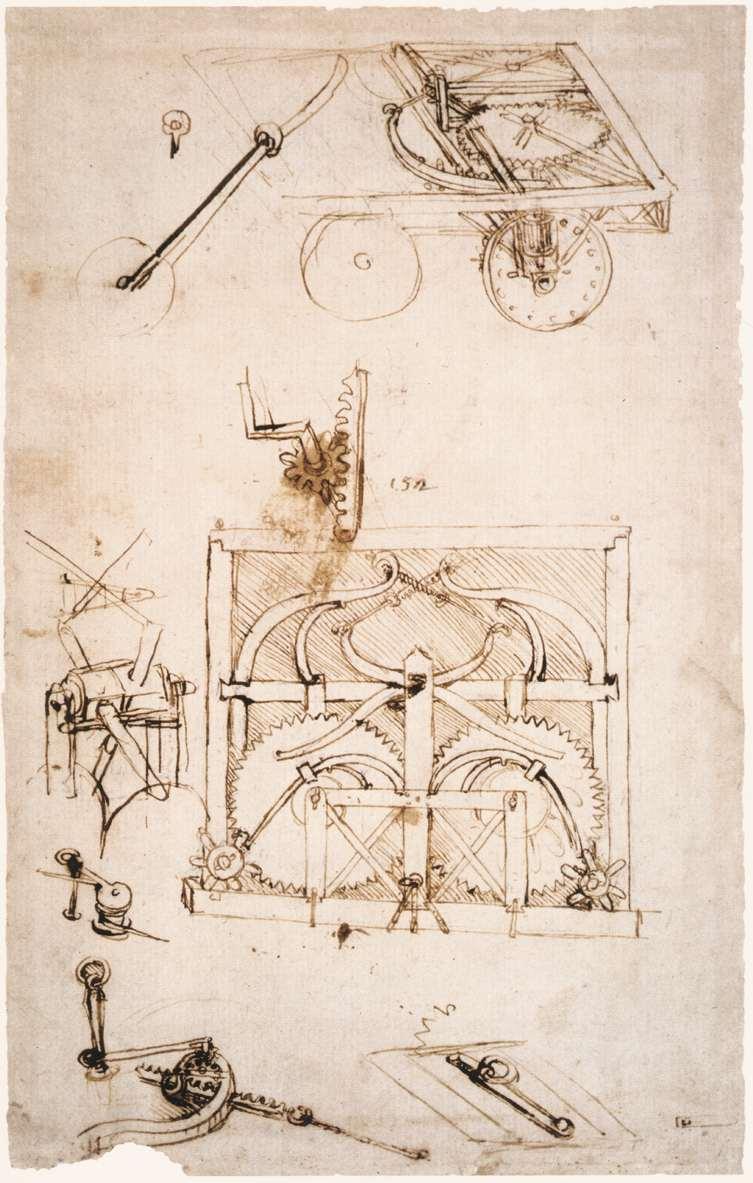 Desenho original do automóvel de da Vinci - Original sketch of da Vinci's automobile