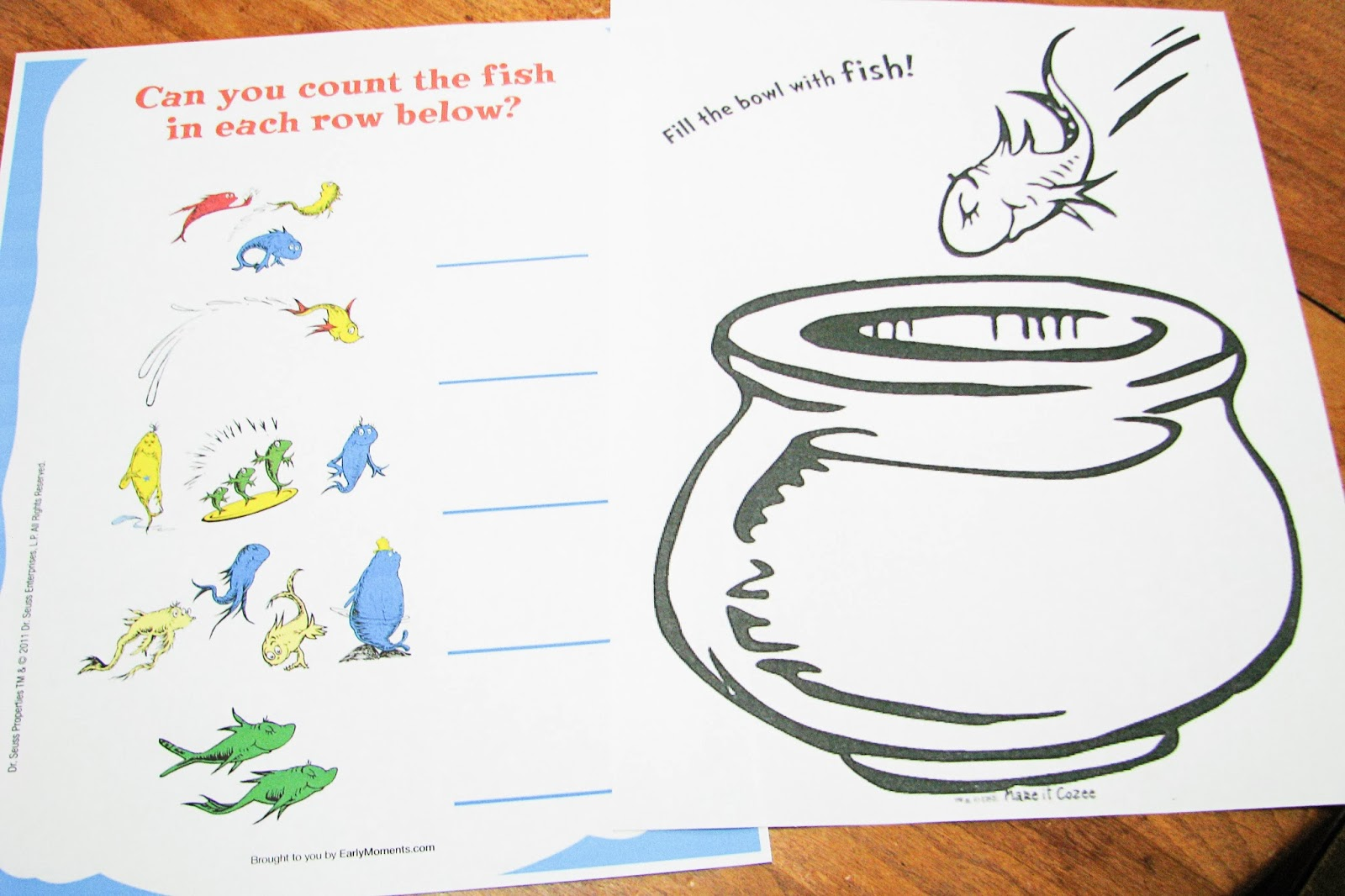 Mommy S Little Helper One Fish Two Fish Red Fish Blue Fish Preschool Theme