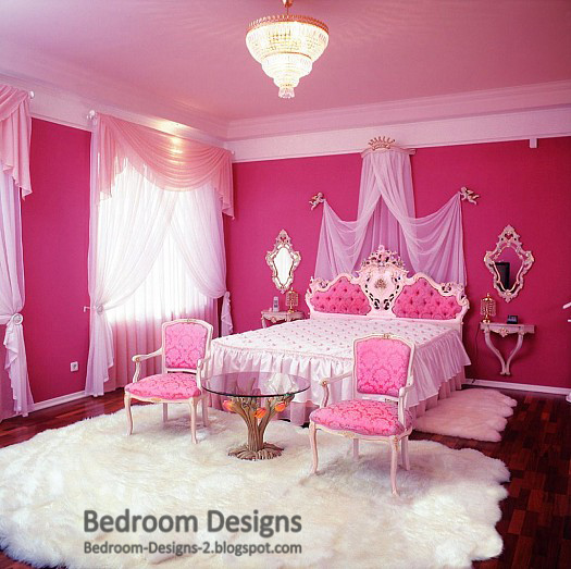Pink Master Bedroom Design With Classic Furniture And Crystal Chandelier