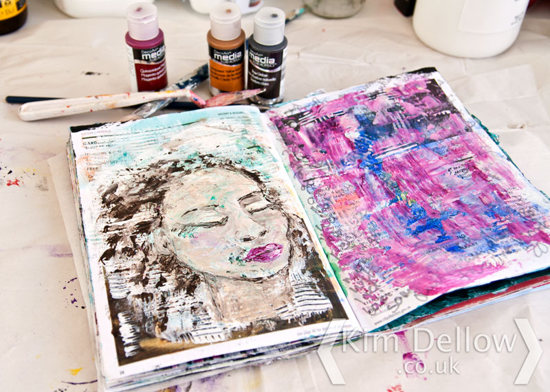 An Art journal portrait in Gesso and DecoArt Media Fluid Acrylics