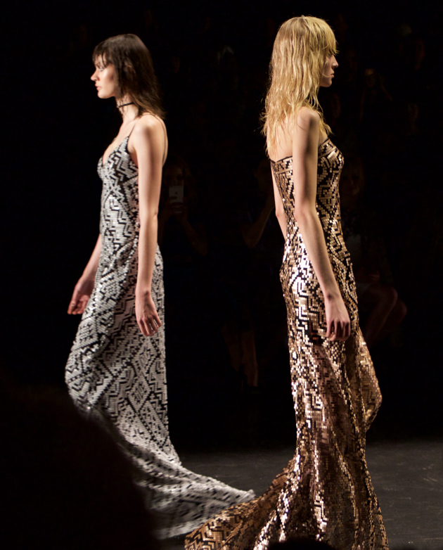 Runway, two dresses with sequined geometric print