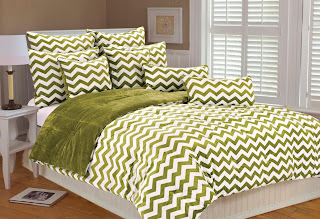 green chevron bedding