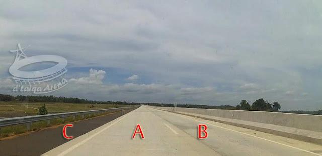 kondisi jalan utama, mayoritas hanya terdiri dari 2 lajur