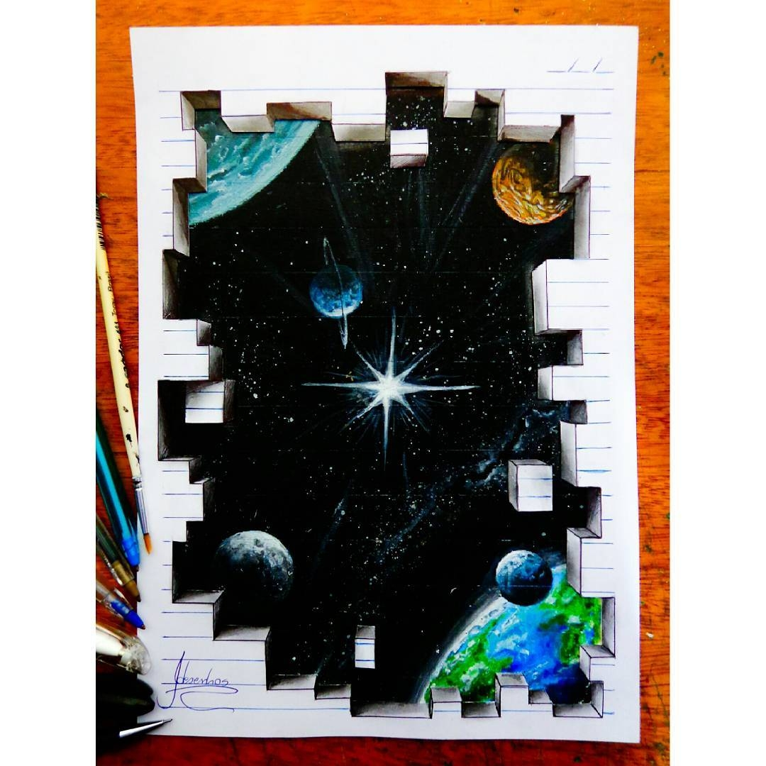 08-Earth-and-the-Solar-System-João-A-Carvalho-Drawing-and-Painting-3D-Optical-Illusions-see-the-Video-www-designstack-co