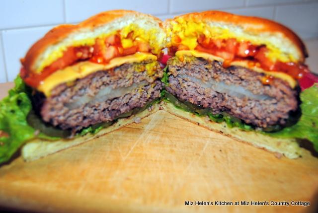 Cheesy Onion Burger at Miz Helen's Country Cottage