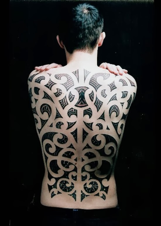 Maori tribal full back tattoo, only for men.